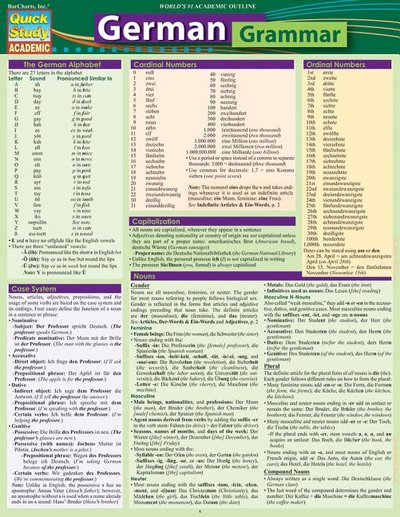 German Grammar: Quickstudy Laminated Reference Guide (Second Edition, Enlarged/Expanded)