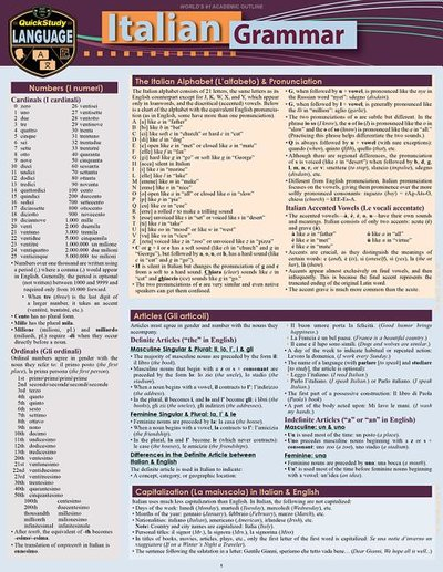 Italian Grammar: A Quickstudy Laminated Language Reference Guide (Second Edition, New Edition, Updated & Revised)